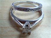 Lady's Silver-Diamond Ring 12 Diamonds .47 Carat T.W. 925 Silver 4.8g Size:8.5
